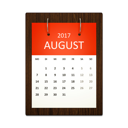 event planning: An image of a german calendar for event planning 2017 august