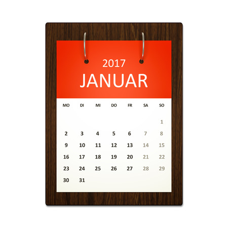 event calendar: An image of a german calendar for event planning 2017 january Stock Photo