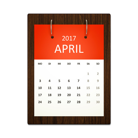 event planning: An image of a german calendar for event planning 2017 april