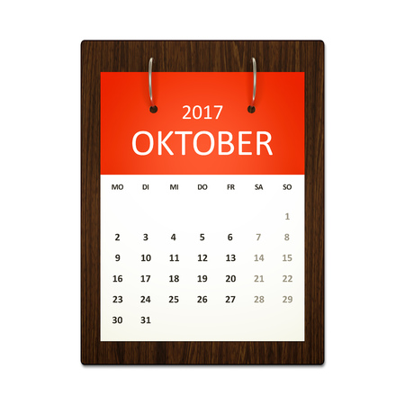 event planning: An image of a german calendar for event planning 2017 october Stock Photo