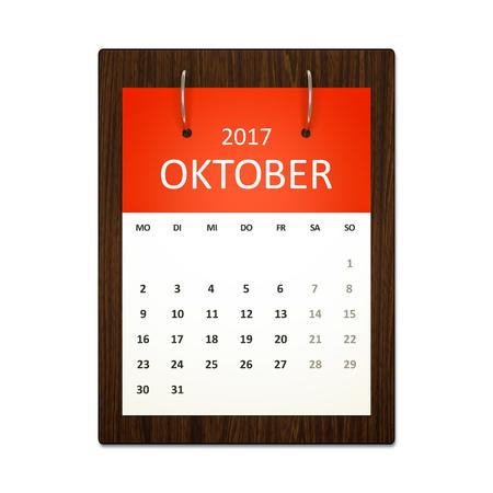 calendario octubre: Una imagen de un calendario alemán para la planificación de eventos 2017 octubre