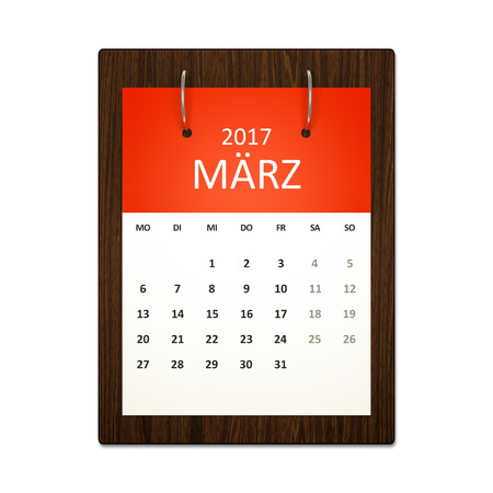 event calendar: An image of a german calendar for event planning 2017 march Stock Photo