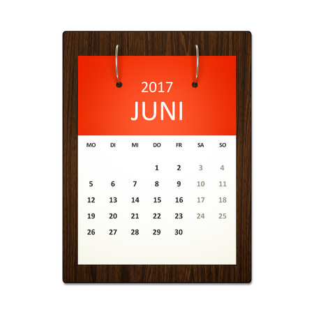 event planning: An image of a german calendar for event planning 2017 june