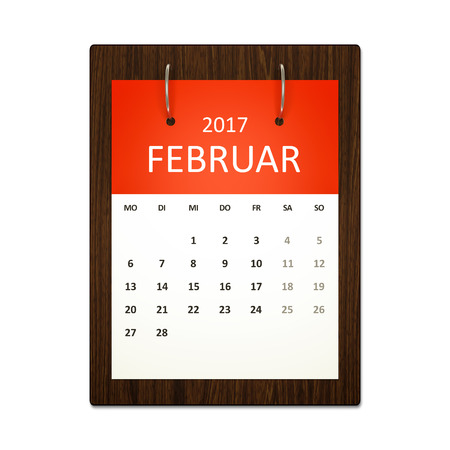 event planning: An image of a german calendar for event planning 2017 february