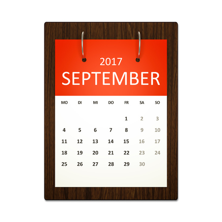 calendar september: An image of a german calendar for event planning 2017 september