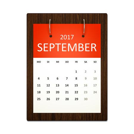 Obraz niemieckiego kalendarza do planowania zdarzeń wrześniu 2017