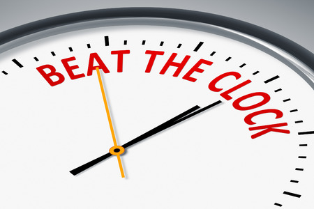 beat the clock: An image of a typical clock with text beat the clock