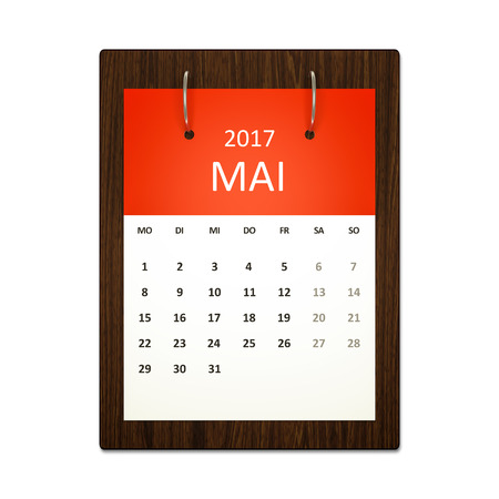 event planning: An image of a german calendar for event planning 2017 may