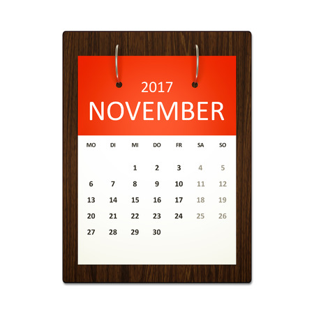 event planning: An image of a german calendar for event planning 2017 november