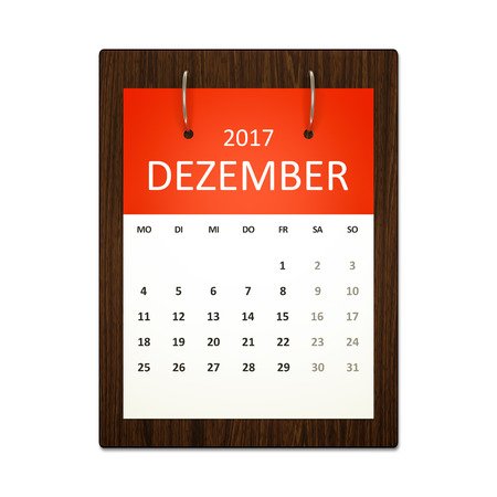 event planning: An image of a german calendar for event planning 2017 december