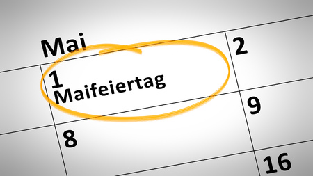 calendar detail shows May Day 1st of May in German language