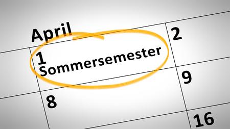 semester: calendar detail shows summer semester 1st of april in german language Stock Photo