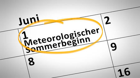 beginning: calendar detail shows Meteorological beginning of the summer first of june in german language