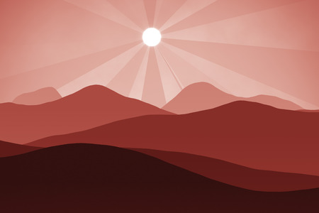 red sunset: An abstract red landscape background graphic with sun