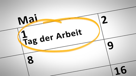 calendar day: calendar detail shows Labor Day 1st of May in German language