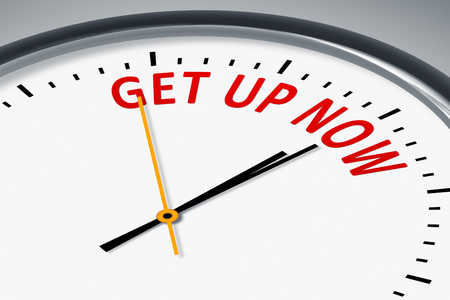 get up: An image of a typical clock with text get up now