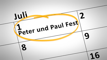 paul: calendar detail shows Peter and Paul Festival first of July in german language Stock Photo