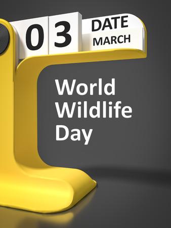 wildlife: Vintage Calendar World Wildlife Day 3rd of march Stock Photo