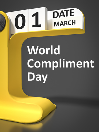 compliment: Vintage Calendar World Compliment Day 1st of march Stock Photo