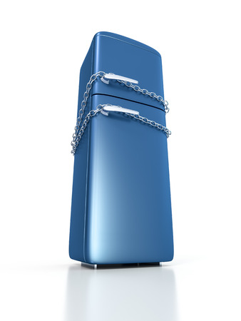 chain food: An image of a blue refrigerator locked with chains
