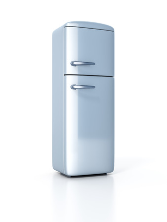 fifties: An image of a typical refrigerator isolated on white Stock Photo