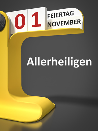 all saints day: vintage calendar All Saints Day 1st of november in german language Stock Photo