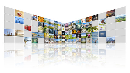 A futuristic video wall with 100 screens photo