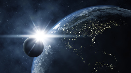earth from space: An image of the earth with the moon from space