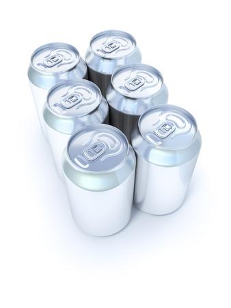 gaseosas: Una imagen de muchas latas de refresco de plata six pack
