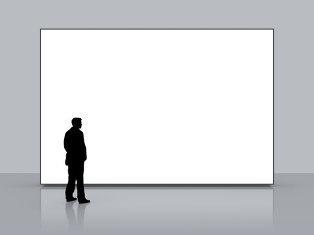 big screen tv: A man in front of a big white empty screen