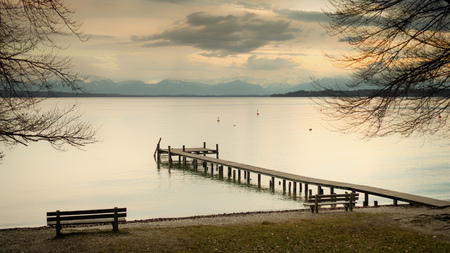 jetty: An image of a nice wooden jetty at Starnberg lake Stock Photo