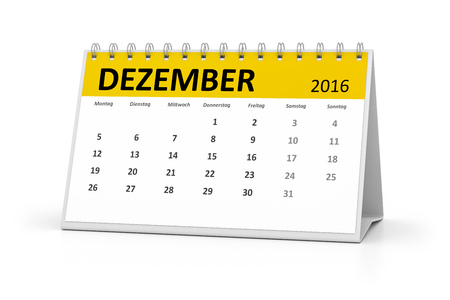 table calendar: A german language table calendar for your events 2016 december