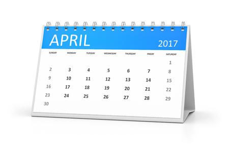 2017 のイベントのための青いテーブル カレンダー 4 月