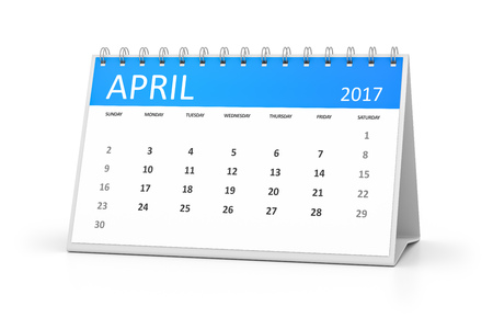 calendario: Un calendario de la tabla azul para sus eventos 2017 Abril