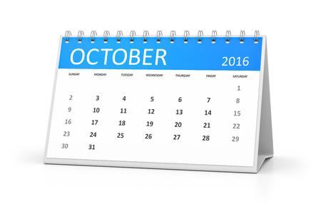 table calendar: A blue table calendar for your events 2016 october