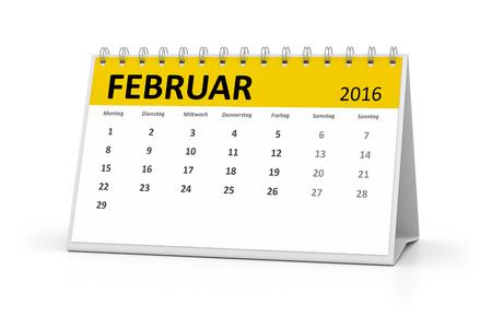 table calendar: A german language table calendar for your events 2016 february