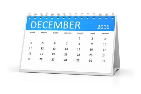 table calendar: A blue table calendar for your events 2016 december