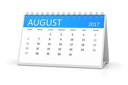 table calendar: A blue table calendar for your events 2017 august Stock Photo