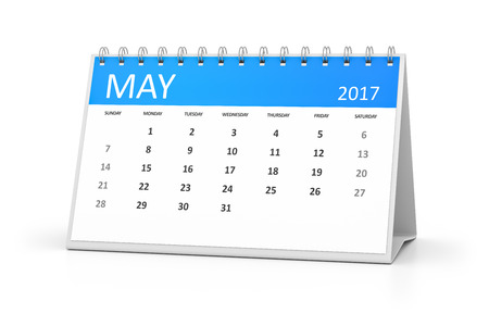 may: A blue table calendar for your events 2017 may