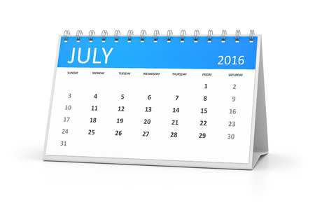 table calendar: A blue table calendar for your events 2016 july