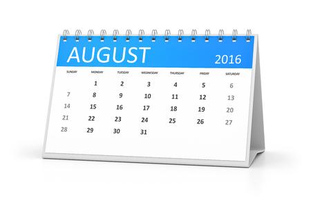 table calendar: A blue table calendar for your events 2016 august