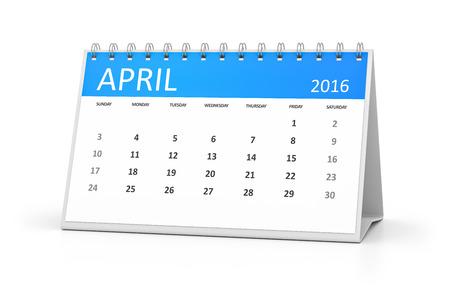 table calendar: A blue table calendar for your events 2016 april