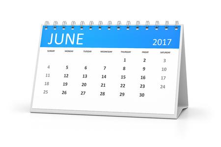 table calendar: A blue table calendar for your events 2017 june