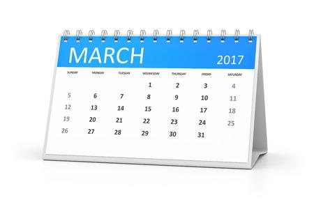 calendrier: Un calendrier de table bleu pour vos événements 2017 mars