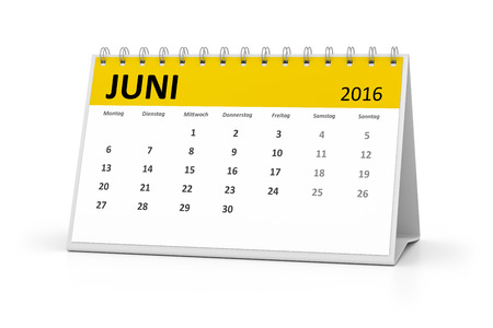 table calendar: A german language table calendar for your events 2016 june Stock Photo