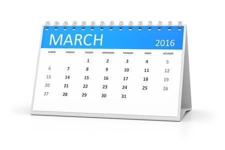 table calendar: A blue table calendar for your events 2016 march