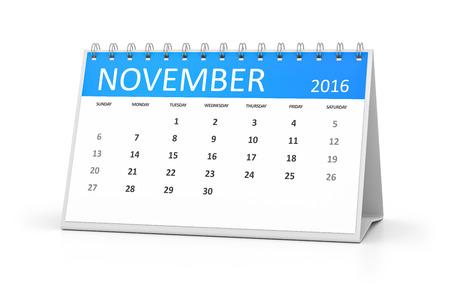 table calendar: A blue table calendar for your events 2016 november Stock Photo