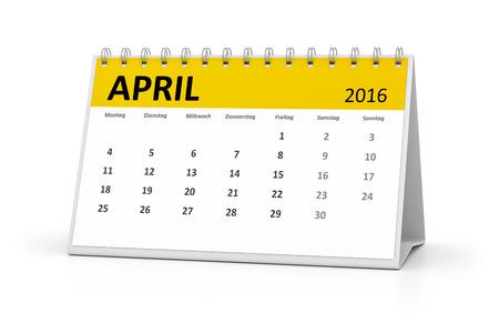 table calendar: A german language table calendar for your events 2016 april