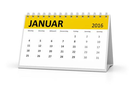 table calendar: A german language table calendar for your events 2016 january