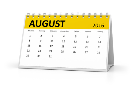 table calendar: A german language table calendar for your events 2016 august Stock Photo
